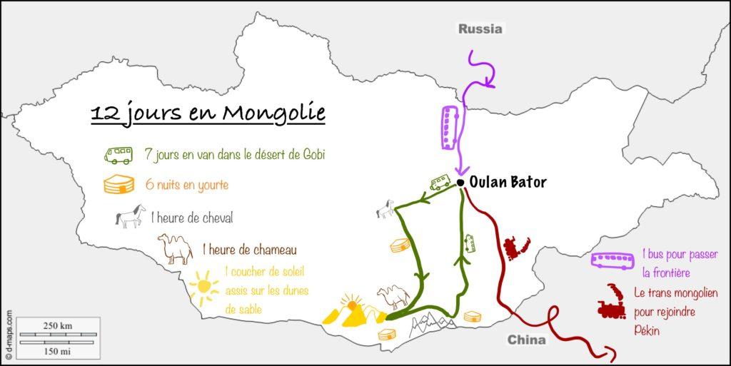Carte de notre itinéraire en Mongolie