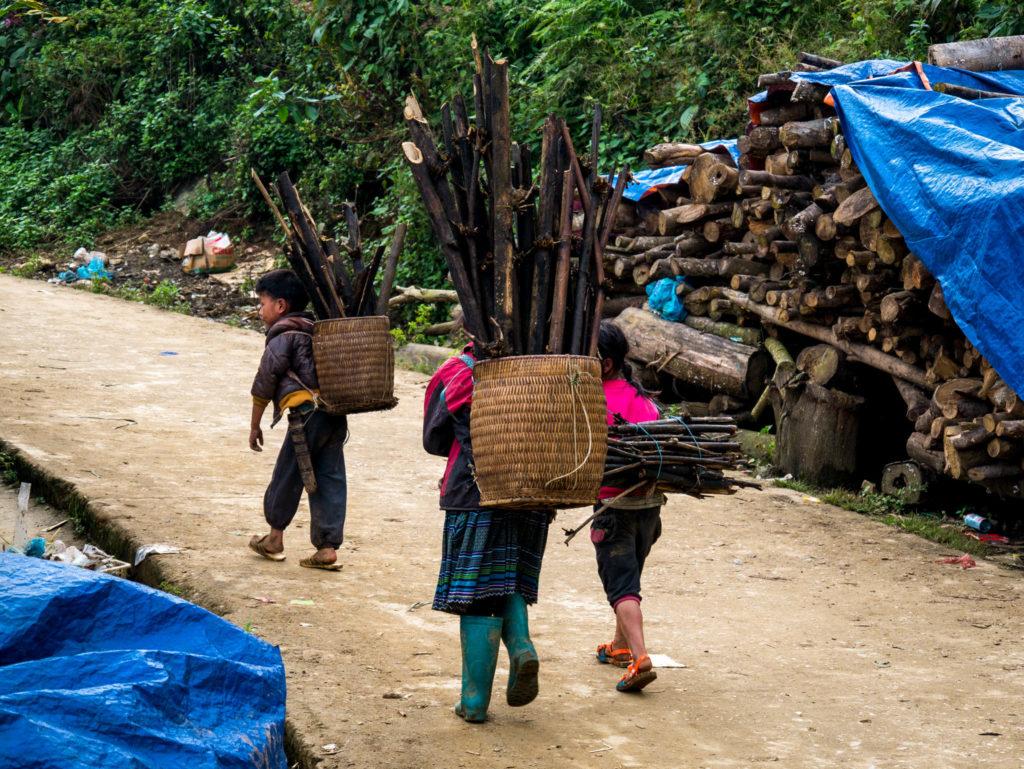 Des enfants portant des kilos de bois