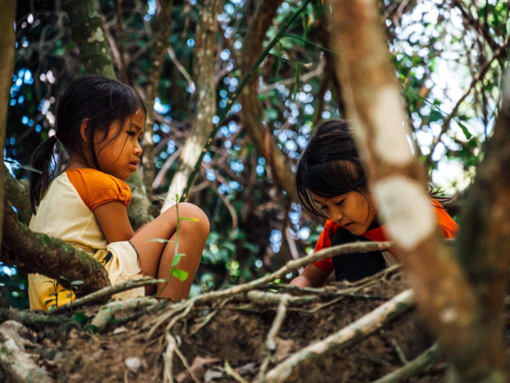 Des enfants jouant dans les arbres au bord d'un temple