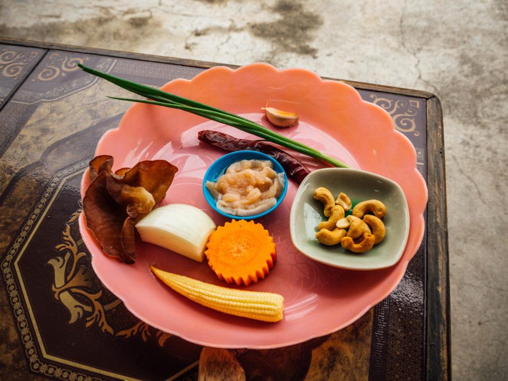 Les ingrédients du poulet aux noix de cajou