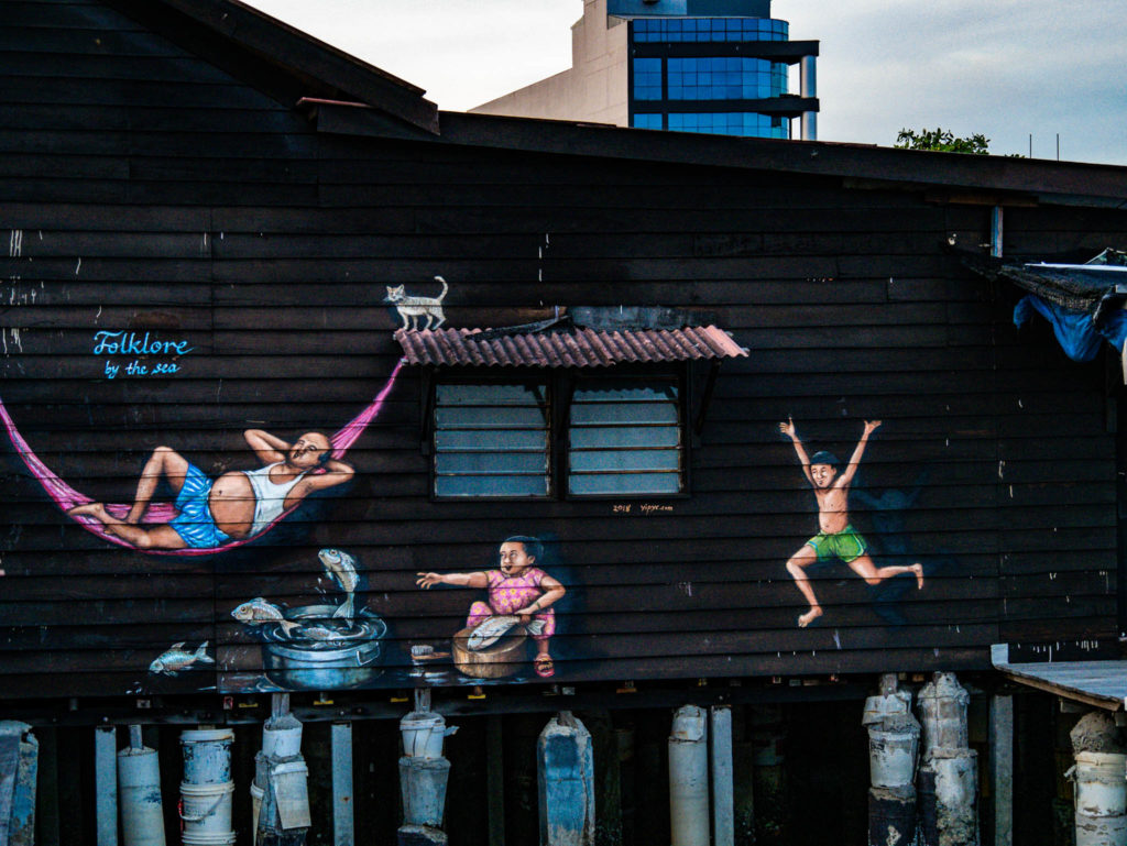 Une fresque représentant la vie des chinois sur les pontons